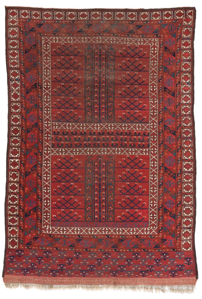 "Antique Afghan Ersari Ensi 4'8""×6'8"""