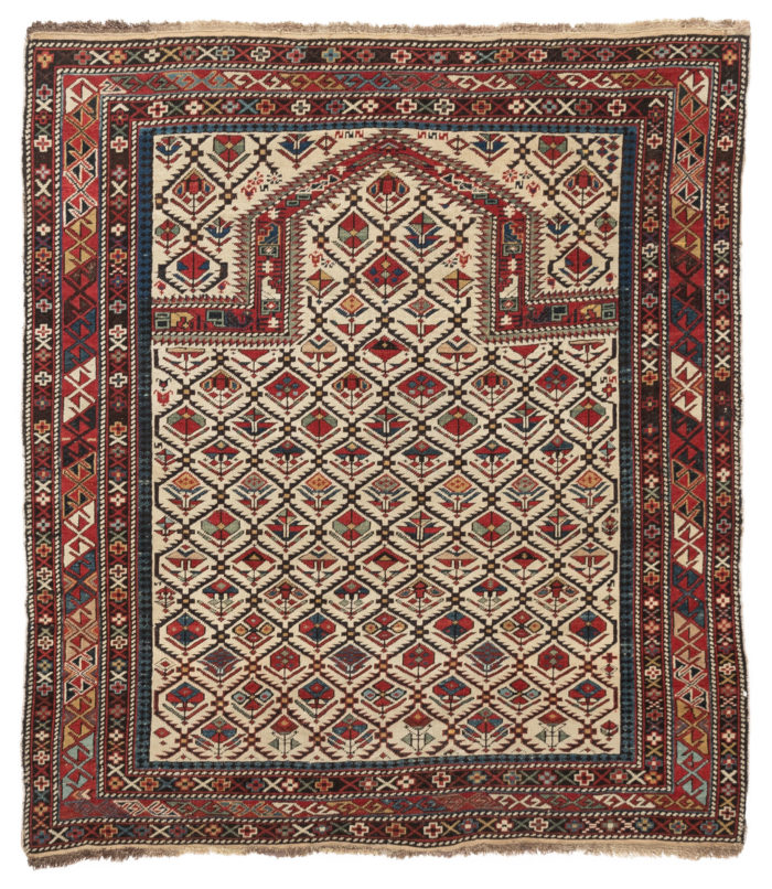 "Antique Azerbaijan Daghestan Prayer Tribal Rug 4'0""×4'6"""