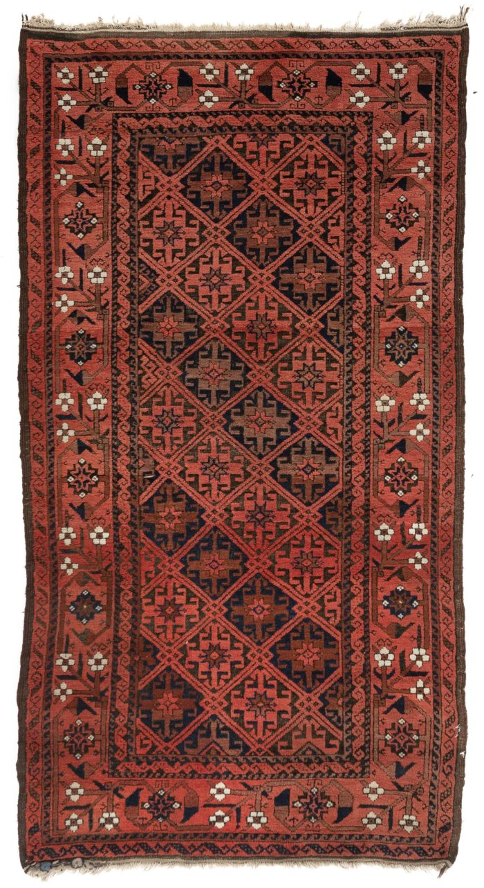 "Antique Belouchi Tribal Area Rug with Floral Design Border 3'1""×5'6"""