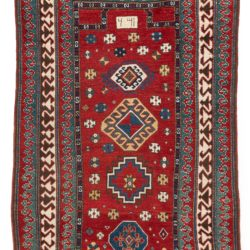 "Antique Caucasas Kazak Prayer Rug with Typical Outer Blue and Red Wave Borders 3'6""×5'8"""