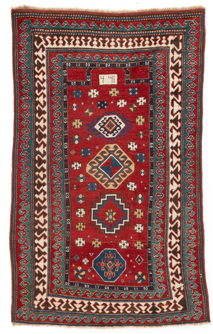"""Antique Caucasas Kazak Prayer Rug with Typical Outer Blue and Red Wave Borders 3'6""""×5'8"""""""