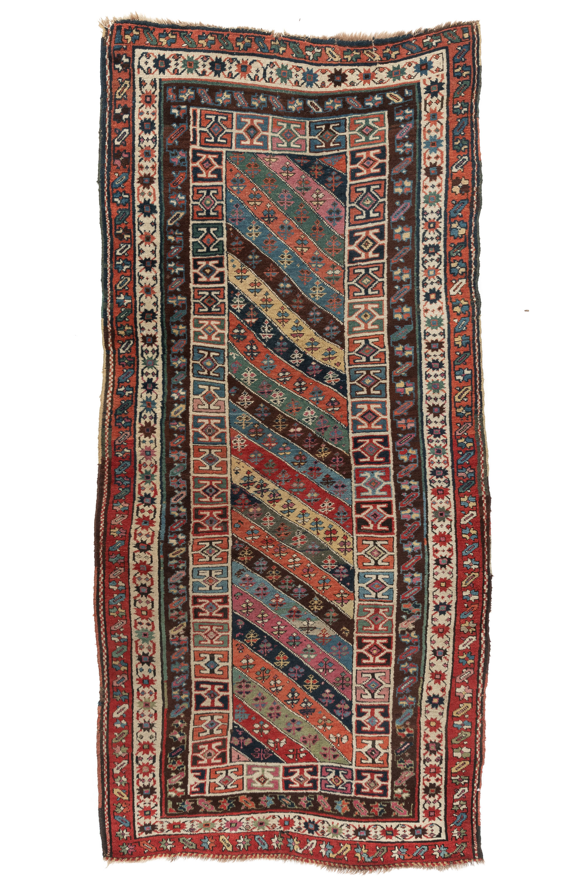 "Antique Caucasian Genje Long Rug 4'0""×8'7"""