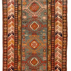 """Antique Caucasian Kazak 4'0""""×8'11"""""""