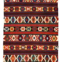 "Antique Caucasian Kazak Kilim 4'10""×9'8"""