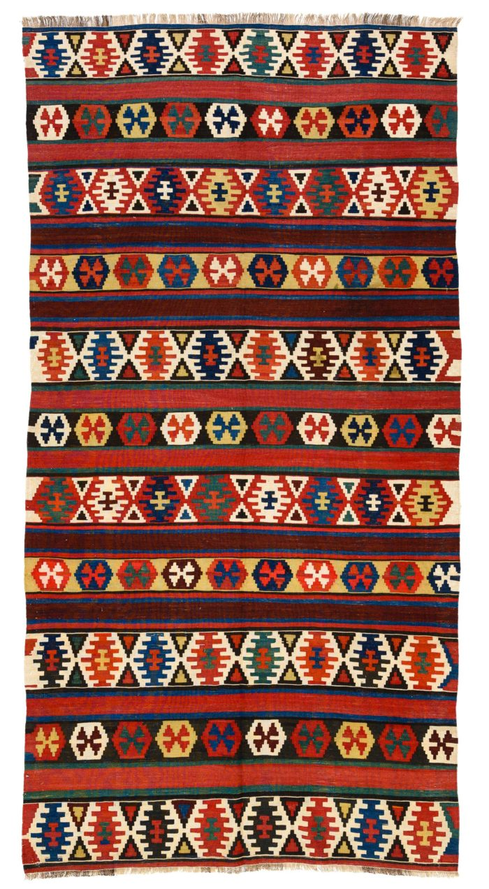 """Antique Caucasian Kazak Kilim 4'10""""×9'8"""""""