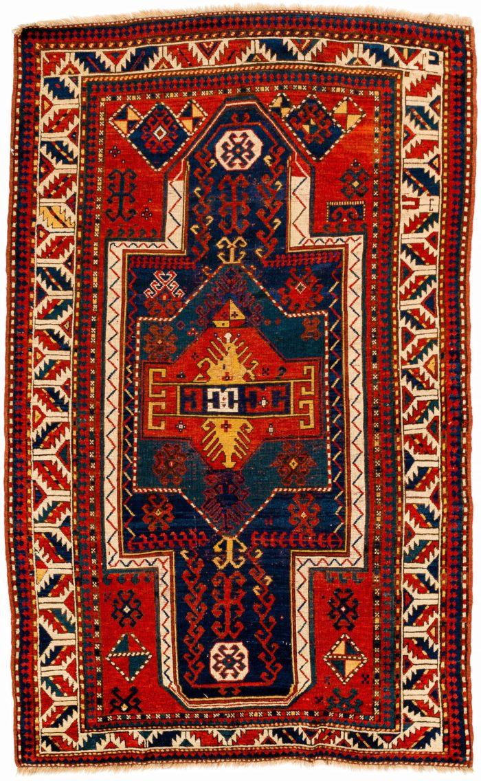 "Antique Caucasian Kazak Prayer 4'3""×6'9"""