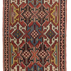 "Antique Caucasian Kilim 5'9""×9'10"""
