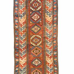 "Antique Caucasian Moghan Kazak 3'4""×12'9"""