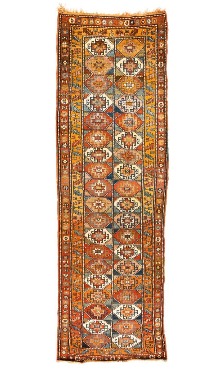 """Antique Caucasian Moghan Kazak 4'3""""×12'10"""""""