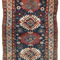 "Antique Caucasian Tribal Runner Rug 3'6""×5'9"""