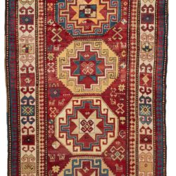 "Antique Caucasus Kazak Runner 4'5""×9'4"""