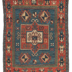 "Antique Caucasus Kazak Tribal Area Rug 3'5""×4'7"""