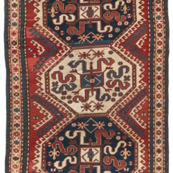 "Antique Caucasus Kazak Tribal Rug 4'2""×6'5"""
