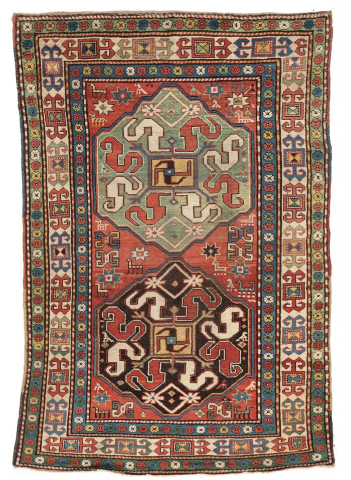 "Antique Caucasus Kazak Tribal Rug 4'6""×6'7"""
