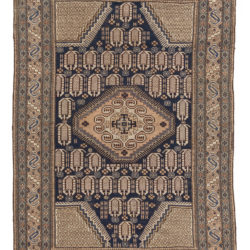 "Antique Caucasus Tribal Rug Navy and Earthtones 4'4""×6'4"""