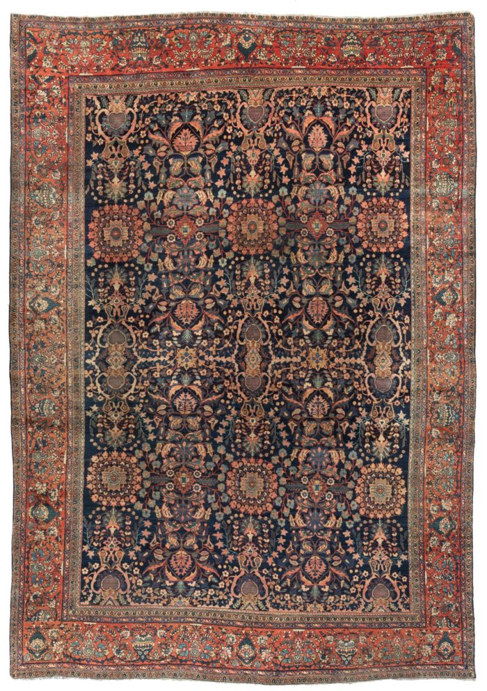 "Antique Feraghan Sarouk Wool Rug 9'0""×13'5"""
