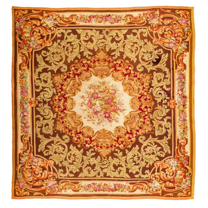 "Antique French Aubusson 15'9""×16'0"""