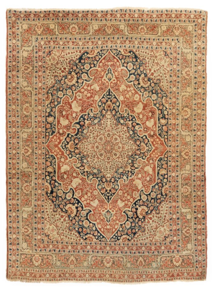 "Antique Haji Jalili Tabriz Persian Area Rug 4'3""×5'9"""