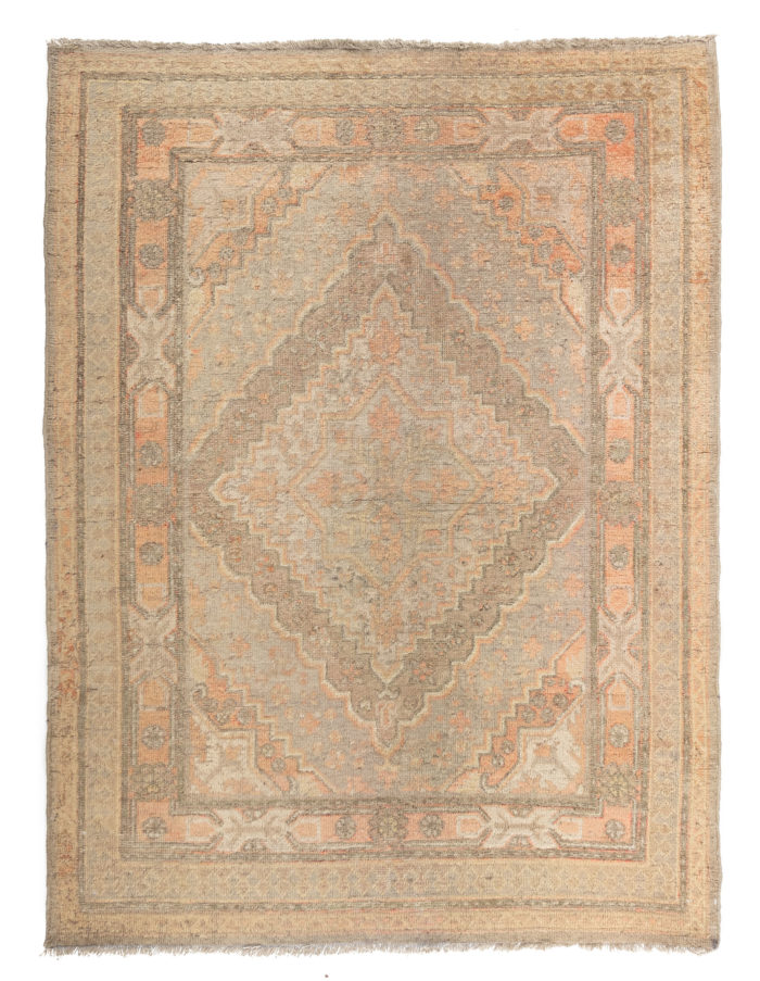 "Antique Hand-Knotted Muted Wool Khotan Rug 4'0""×5'4"""