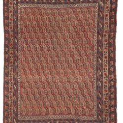 "Antique Hand-Knotted Wool Persian Afshar All-Over Boteh Tribal Rug 4'5""×6'2"""