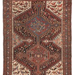 "Antique Khamseh Shiraz Tribal Rug 4'3""×5'11"""