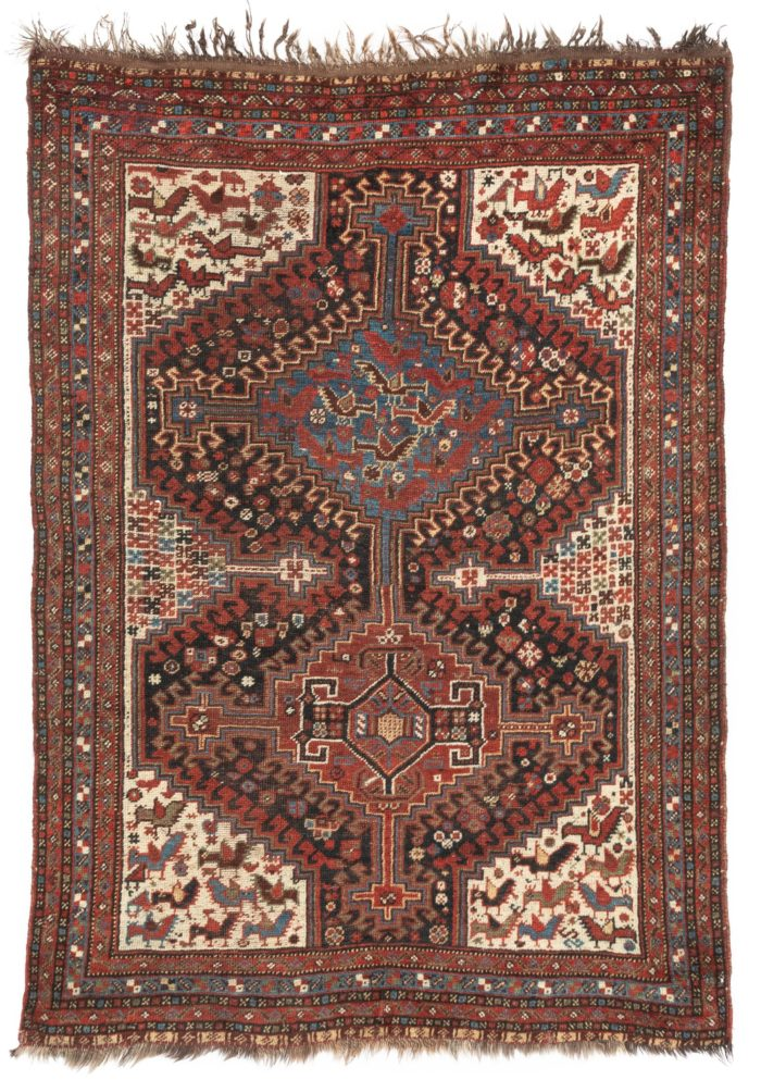 "Antique Khamseh Shiraz Tribal Rug 4'3""×5'11"""
