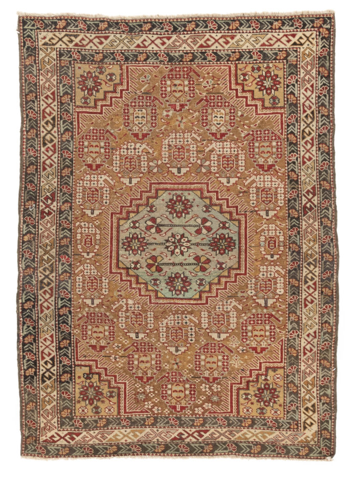 "Antique Kuba Caucasus Tribal Area Rug 3'4""×4'6"""