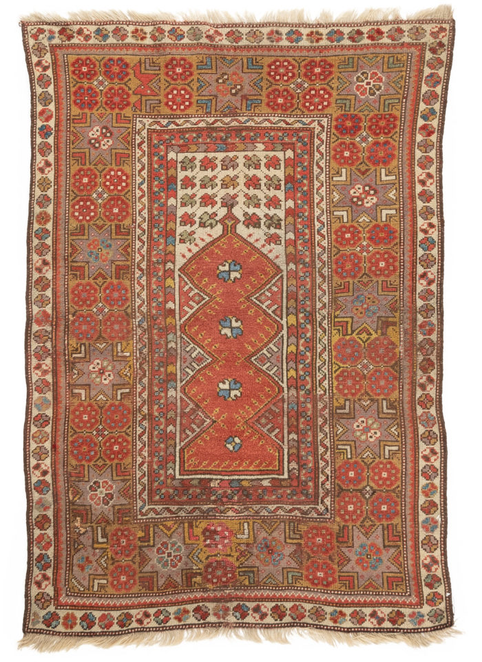 "Antique Melez Prayer Rug 3'1""×4'5"""