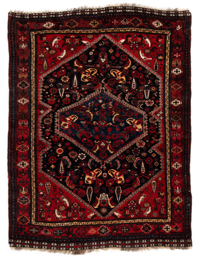 "Antique Persia Khamseh 4'9""×6'3"""