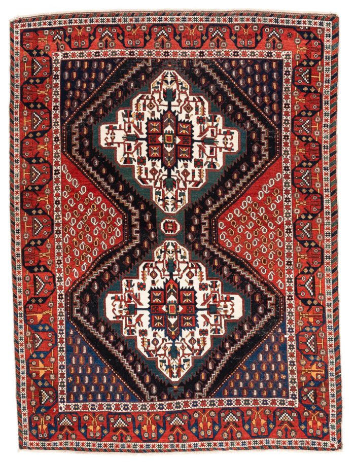 "Antique Persian Afshar 4'5""×6'0"""