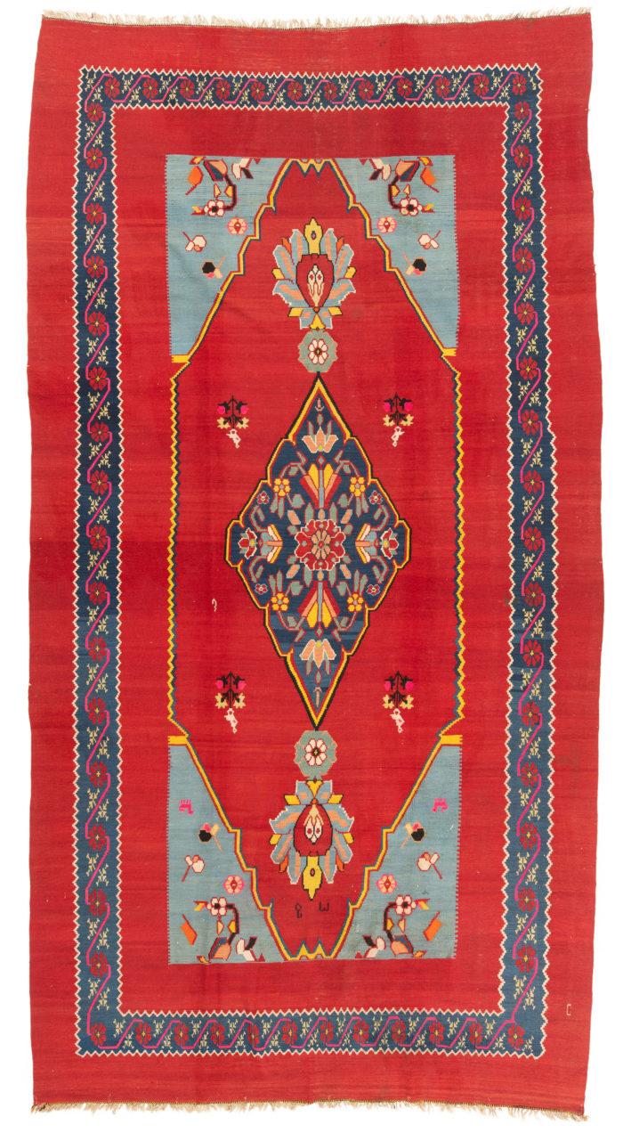 "Antique Persian Bidjar Tribal Kilim 7'7""×14'3"""