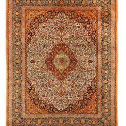 "Antique Persian Dabir Kashan 9'1""×11'5"""