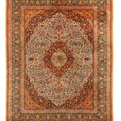 "Antique Persian Dabir Kashan 9'1""×11'5"""