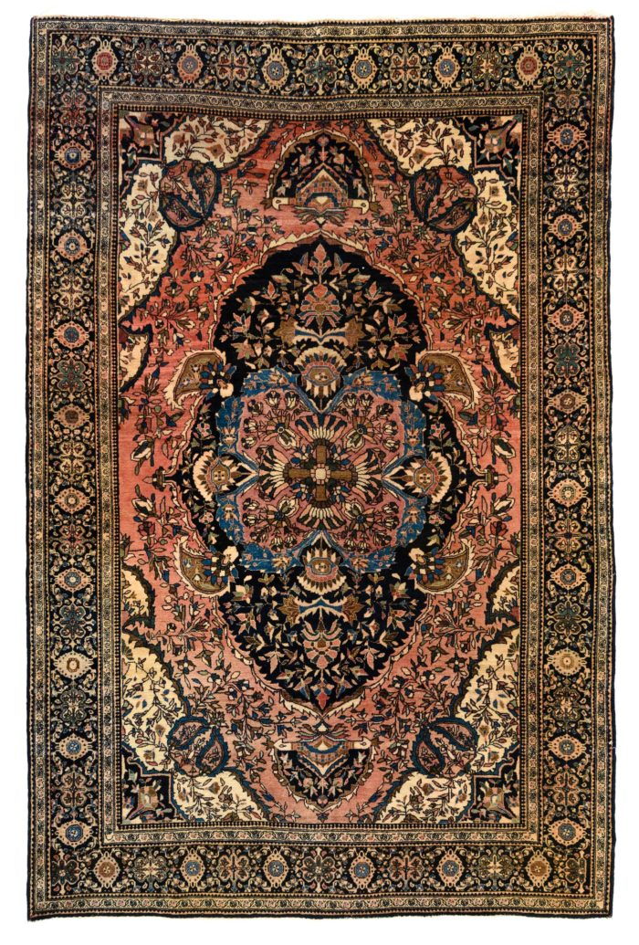 "Antique Persian Faraghan Sarouk 4'2""×6'5"""