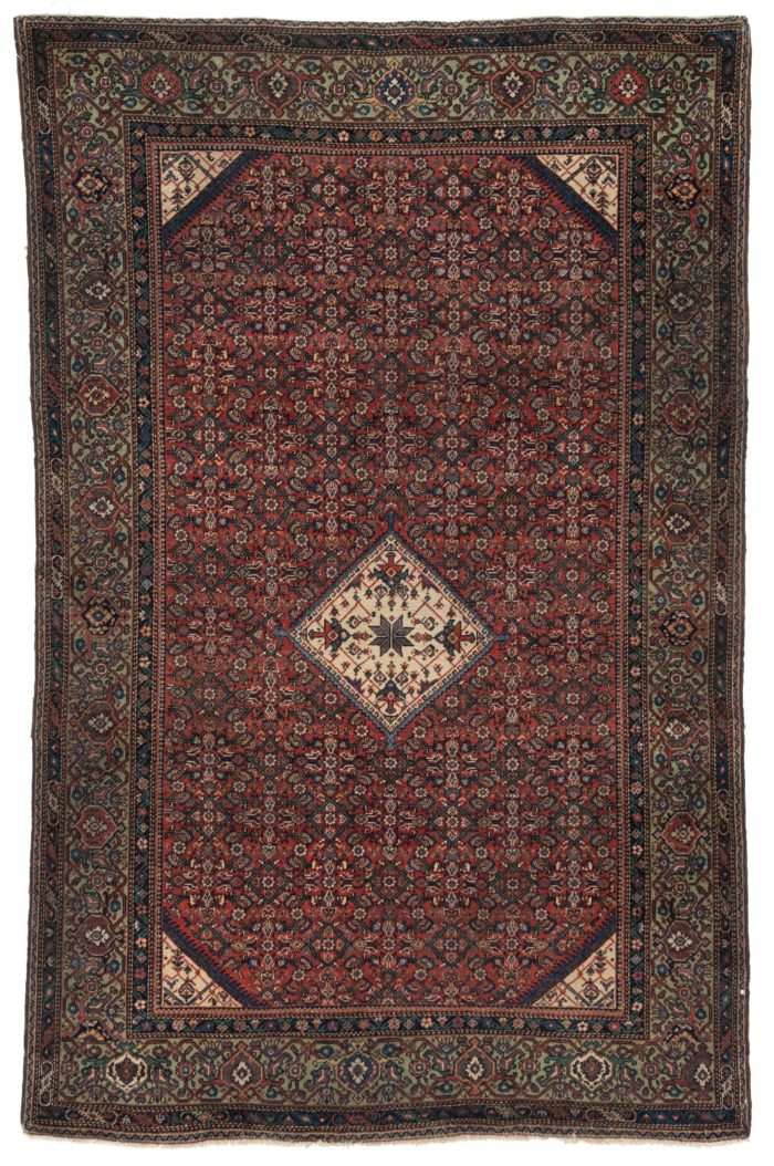 "Antique Persian Farahan Rug 4'1""×6'5"""