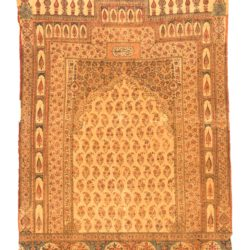 "Antique Persian Kalam Kari Block Print 3'1""×4'7"""