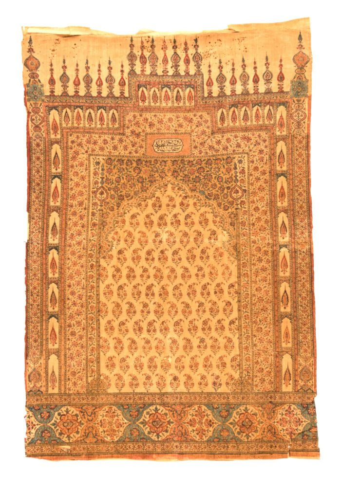 """Antique Persian Kalam Kari Block Print 3'1""""×4'7"""""""