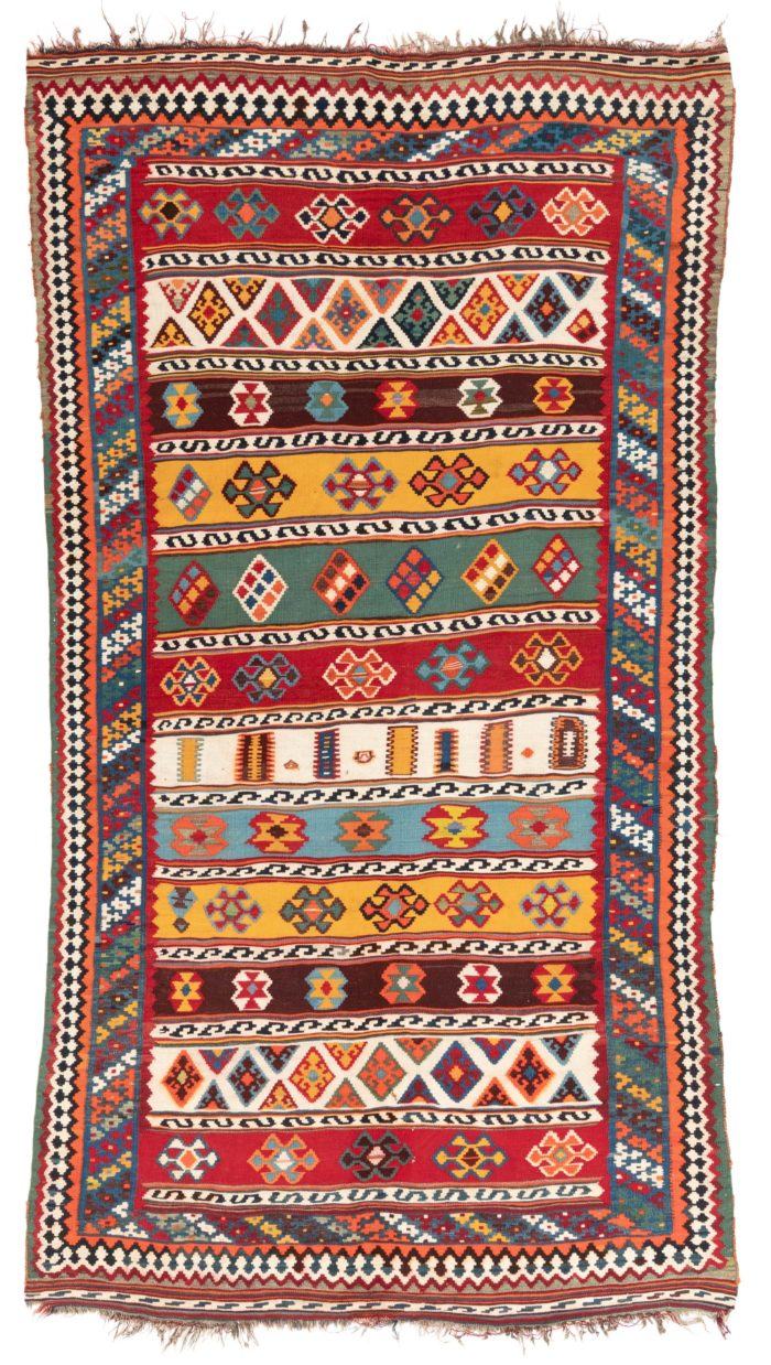 "Antique Persian Kashguli Kilim 5'1""×9'3"""