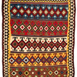 "Antique Persian Khamseh Kilim 5'7""×8'3"""
