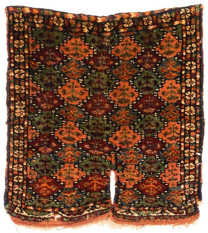 "Antique Persian Kurdish Saddle Cover 1'5""×1'7"""