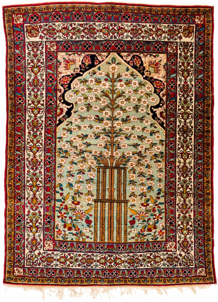"Antique Persian Lavar Kerman 4'6""×5'10"""
