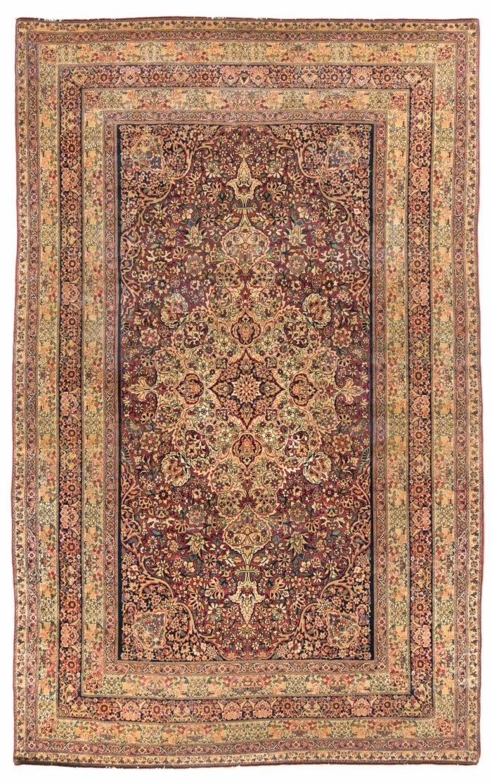 "Antique Persian Lavar Kerman 9'9""×15'5"""