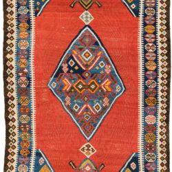 "Antique Persian Qashqa'i Kilim 3'11""×6'7"""