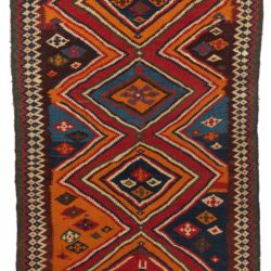 "Antique Persian Qashqa'i Kilim 4'9""×9'2"""