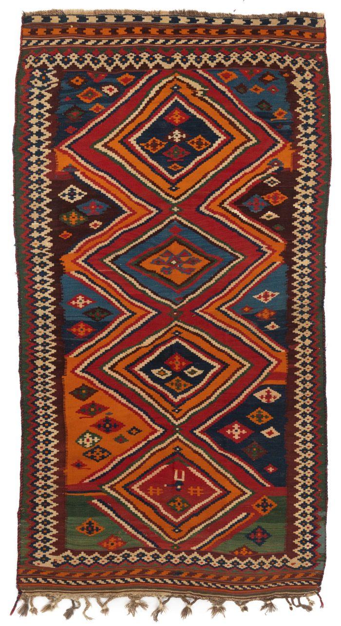 """Antique Persian Qashqa'i Kilim 4'9""""×9'2"""""""