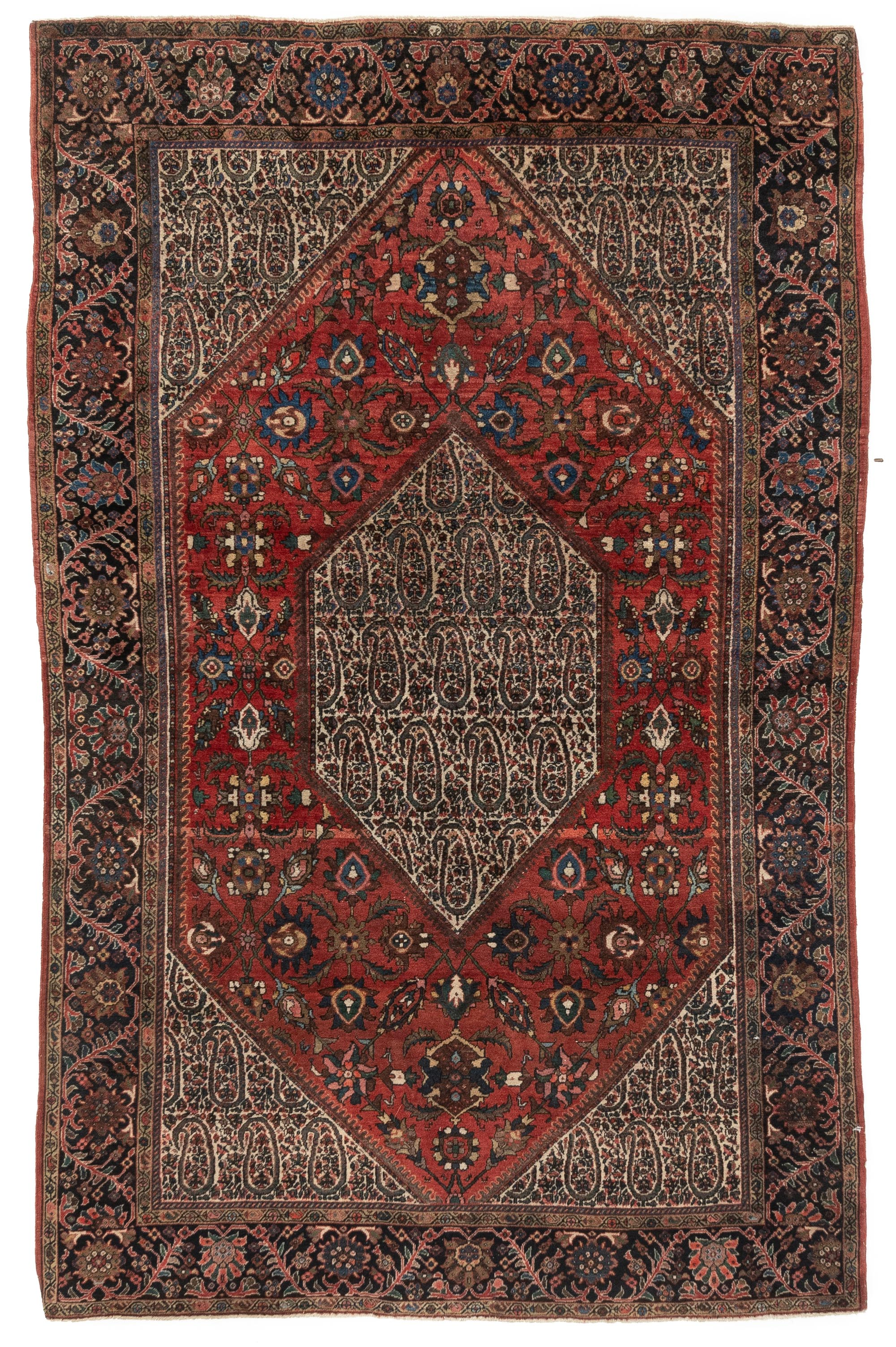 "Antique Persian Sarouk Fereghan 4'1""×6'5"""