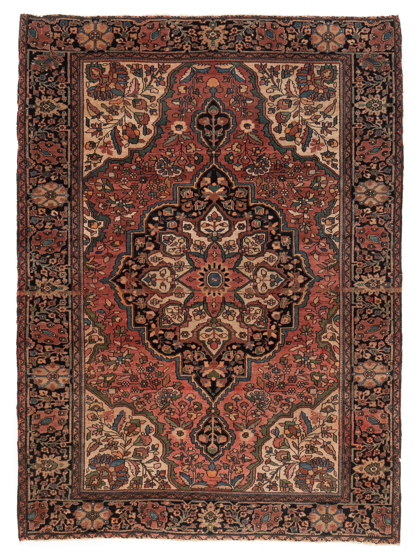 "Antique Persian Sarouk Fereghan 3'6""×4'9"""