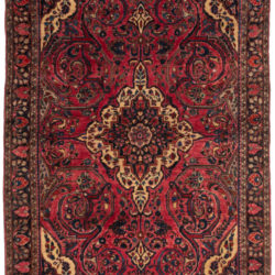 "Antique Persian Sarouk Rug 4'2""×6'5"""