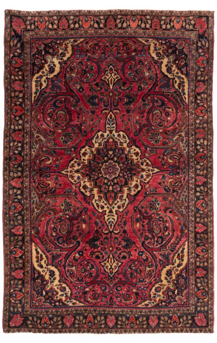 """Antique Persian Sarouk Rug 4'2""""×6'5"""""""