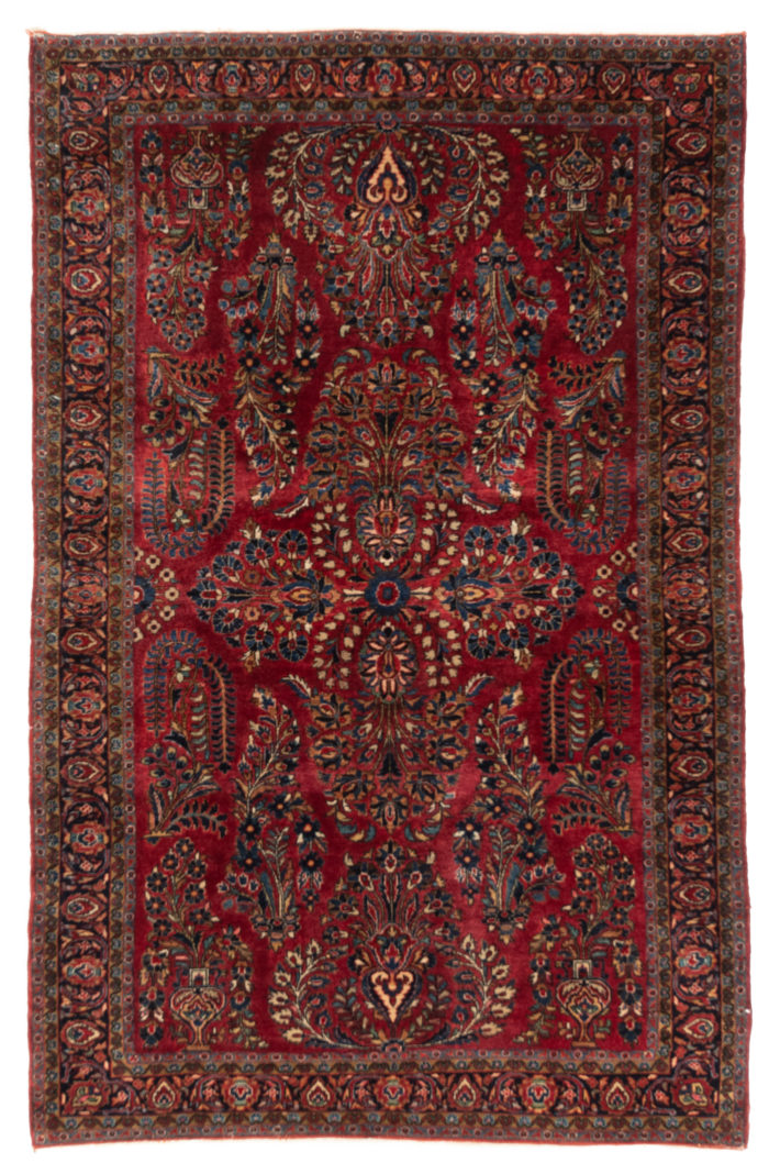 """Antique Persian Sarouk Rug 4'3""""×6'6"""""""